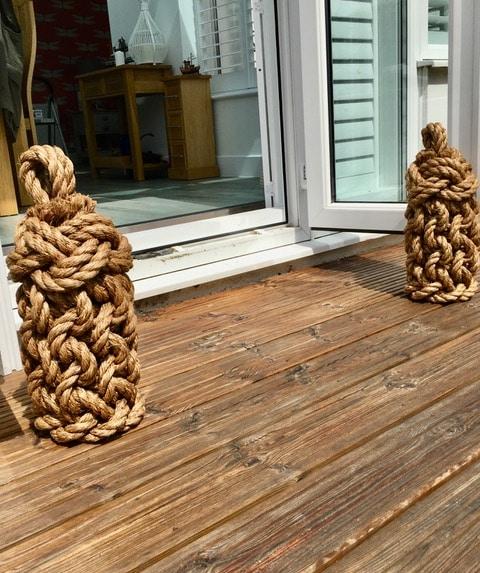 rope door stops on decking